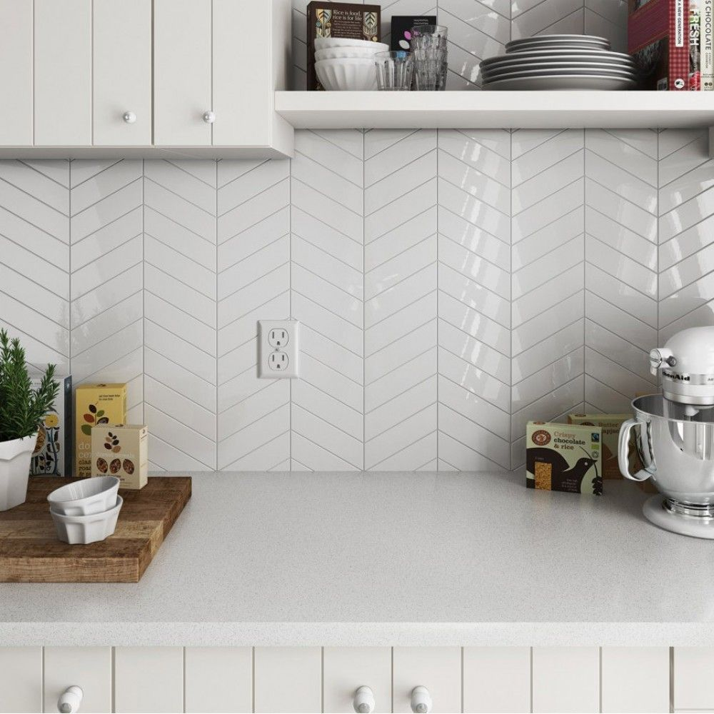Arrows Gloss White Kitchen Wall Tiles Chevron Tile Tile Design