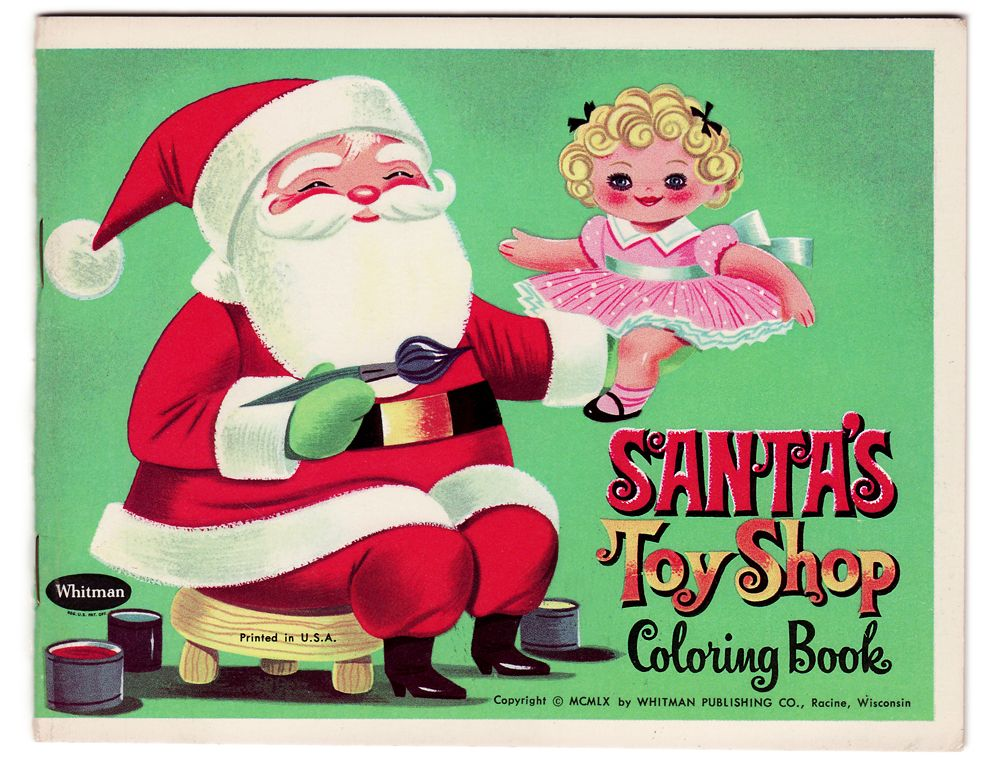 santas toy shop vintage coloring book part of a set of whitman christmas coloring and activity books 1960