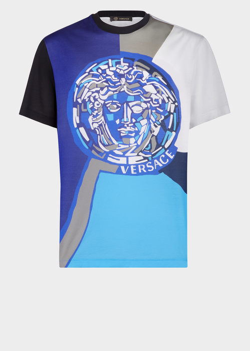 Contrast Pop Medusa T Shirt In Blue Mens Tshirts Versace T Shirt Mens Shirts