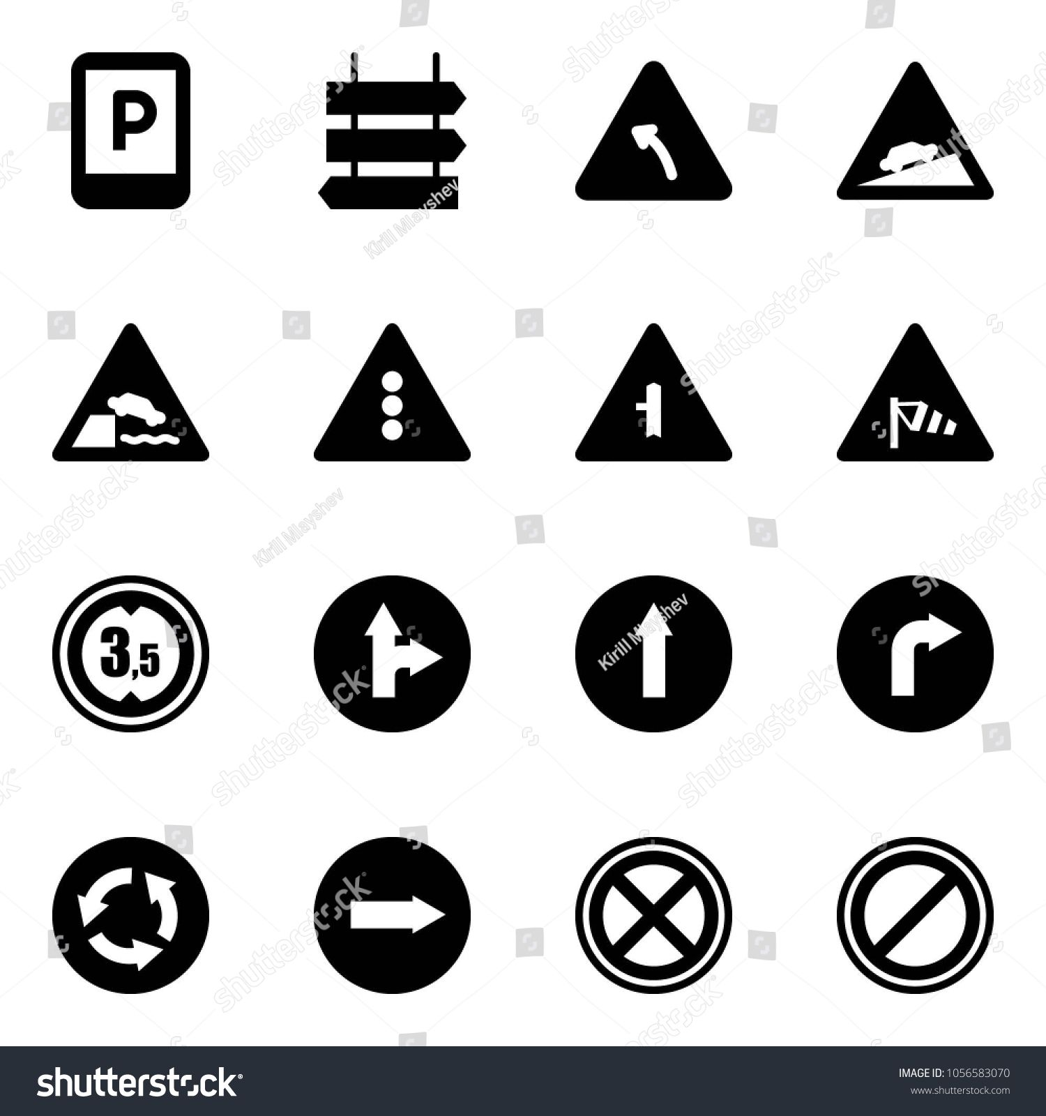 Solid vector icon set parking sign vector, post, turn
