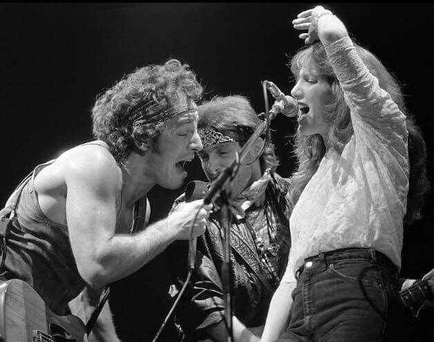 "Bruce, Nils, and Patti during the ""Born in the USA"" tour."
