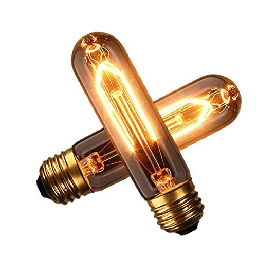 KINGSO 2 Pack E27 Base 60w Vintage Edison Bulb T10 Antique Filament