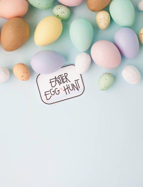 pastel easter still life background for easter egg hunt