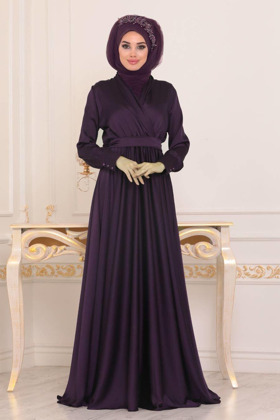 Tesetturlu Abiye Elbise V Yaka Krep Saten Mor Tesettur Abiye Elbise 1418mor Tesetturisland Com Elbise The Dress V Yaka