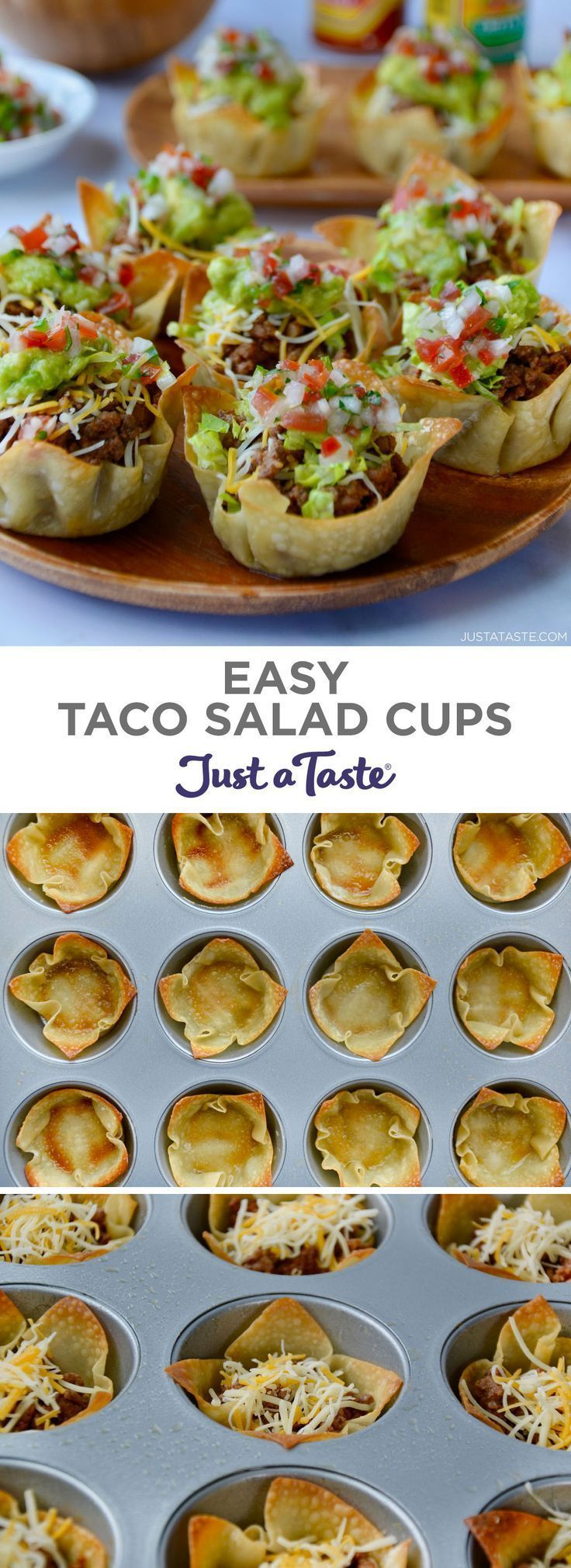 Easy Taco Salad Cups | Just a Taste