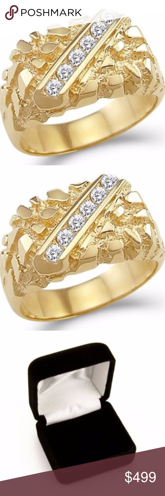 14k Solid Yellow Gold Mens Heavy Nugget Ring Man Made Diamonds Yellow Gold Jewelry Accessories
