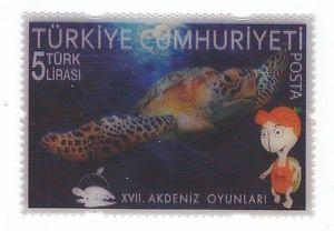 Turkey Stamps 2013   Turkey 2013 Mersin XVII Mediterranean Games 3 D Stamp Turtle MNH M7066 ...