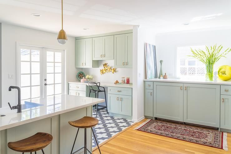 Kitchen Features Mint Green Cabinets