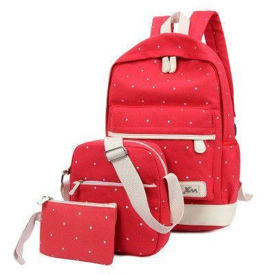 Women Three piece Suit Shoulder Bags 3 Pcs Set Rucksack Canvas Girl School  Bags For Teenagers Backpack Mochila Knapsack Bag Set 92dee41739a21
