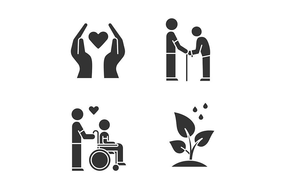 Volunteering Glyph Icons Set Glyph Icon Icon Set Glyphs