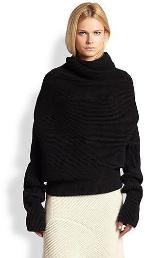 Acne Studios Galactic Asymmetrical Draped Ribbed Sweater