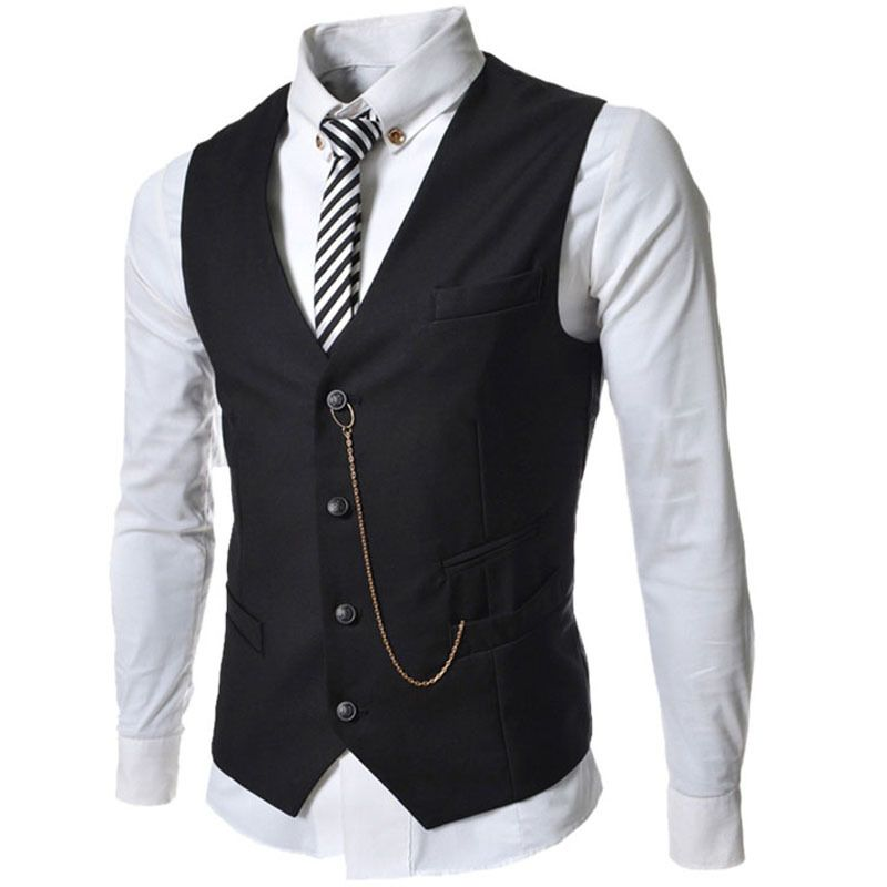 Men's Heather Grey full back dress vest with 5 buttons and 2 front pockets. % Polyester. Machine washable. Vest's front and back are of the same color and fabric. Vest's back is NOT ADJUSTABLE.