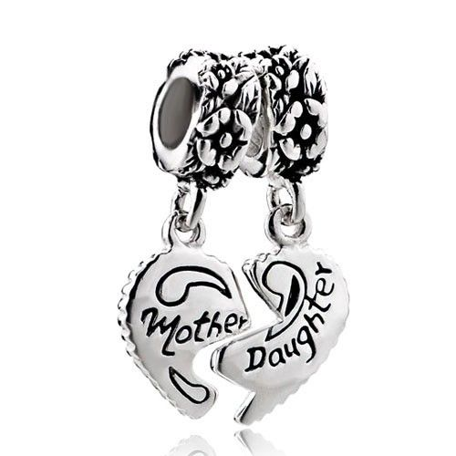 Mother Daughter Charm Bracelets Heart Beads 925 Sterling Silver ...