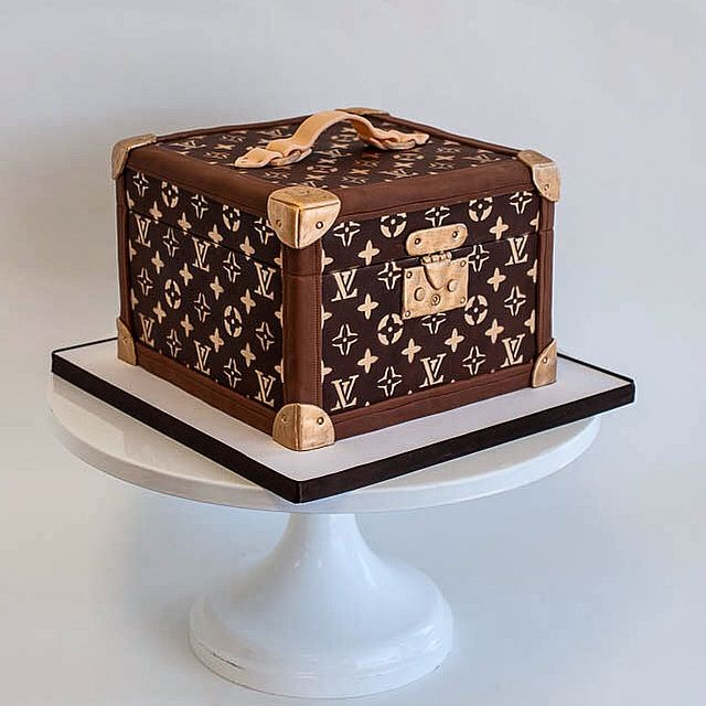 6167f565bfd Louis Vuitton Hat Box Luggage Suitcase Sculpted Cake by Fluffy Thoughts  Cakes