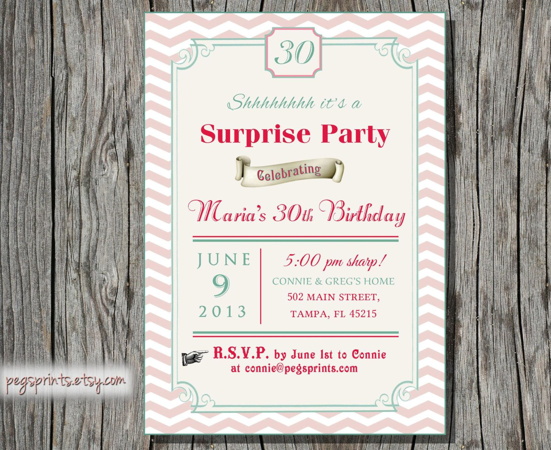 Surprise 30th Birthday Invitation - Adult Surprise Birthday Invites ...