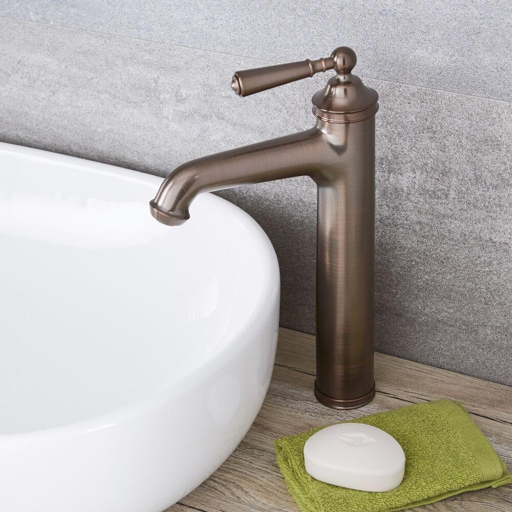Hohe Einhebel Waschtischarmatur Traditionell In Geolter Bronze