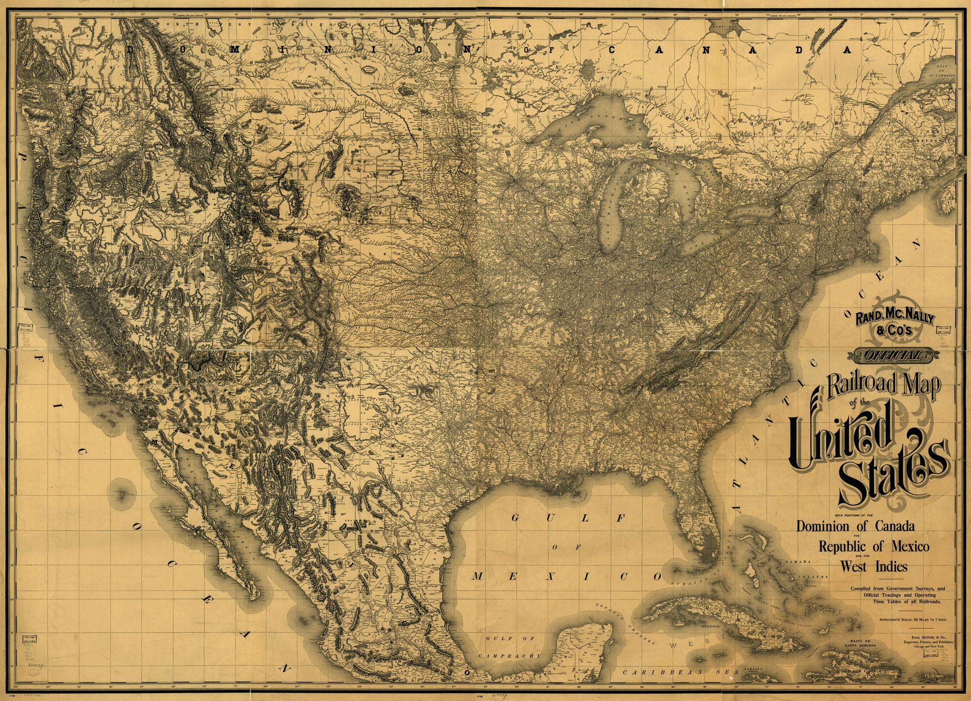 Railroad Map of the United States 1893 Where in the world