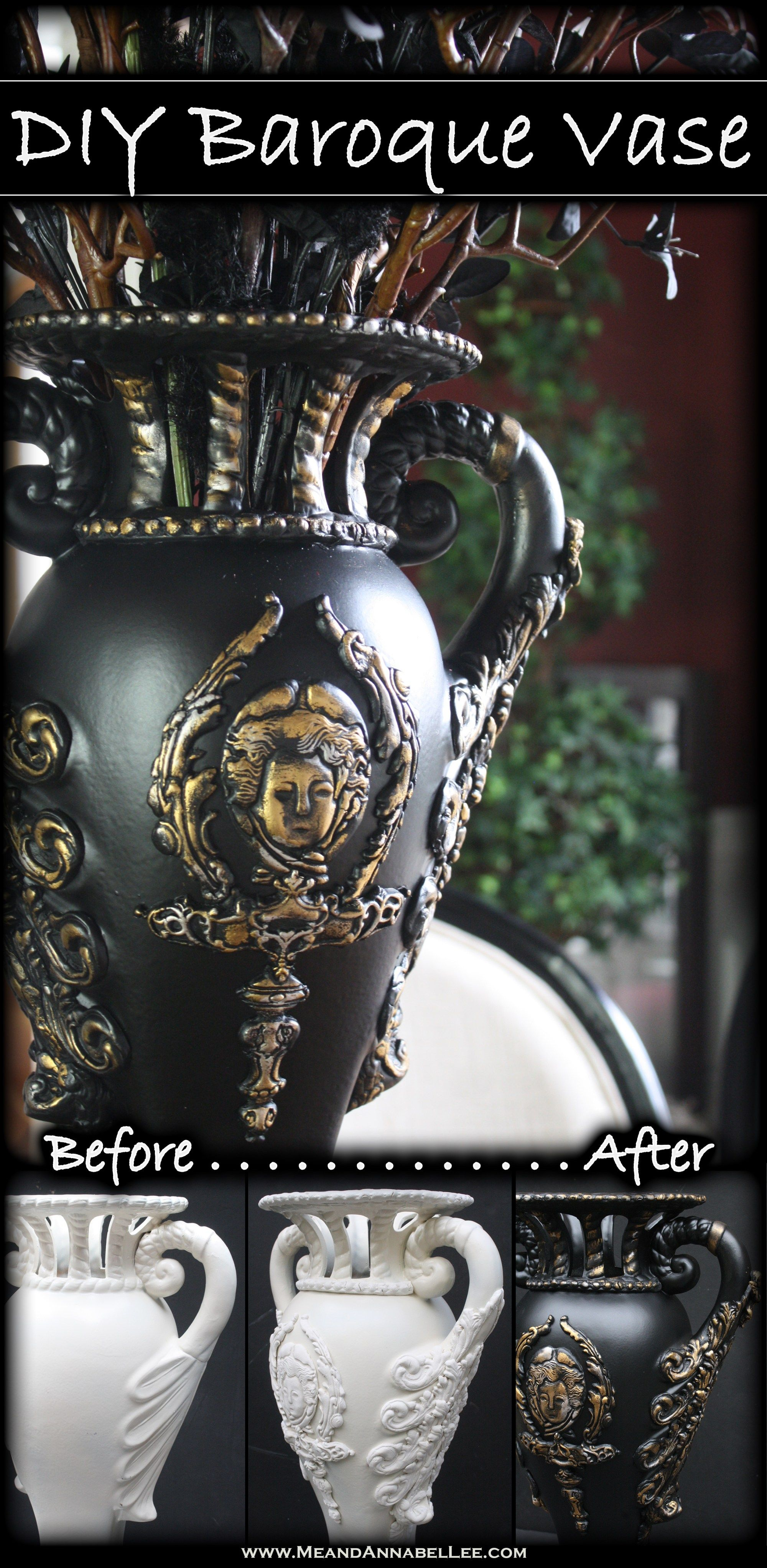 Diy victorian gothic vase goth home decor victorian