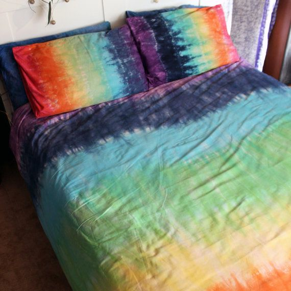ef108164412a Hand dyed rainbow tie dye duvet cover and 2 pillow cases. 100% Egyptian  cotton