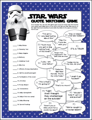 Printable Star Wars Baby Shower Game