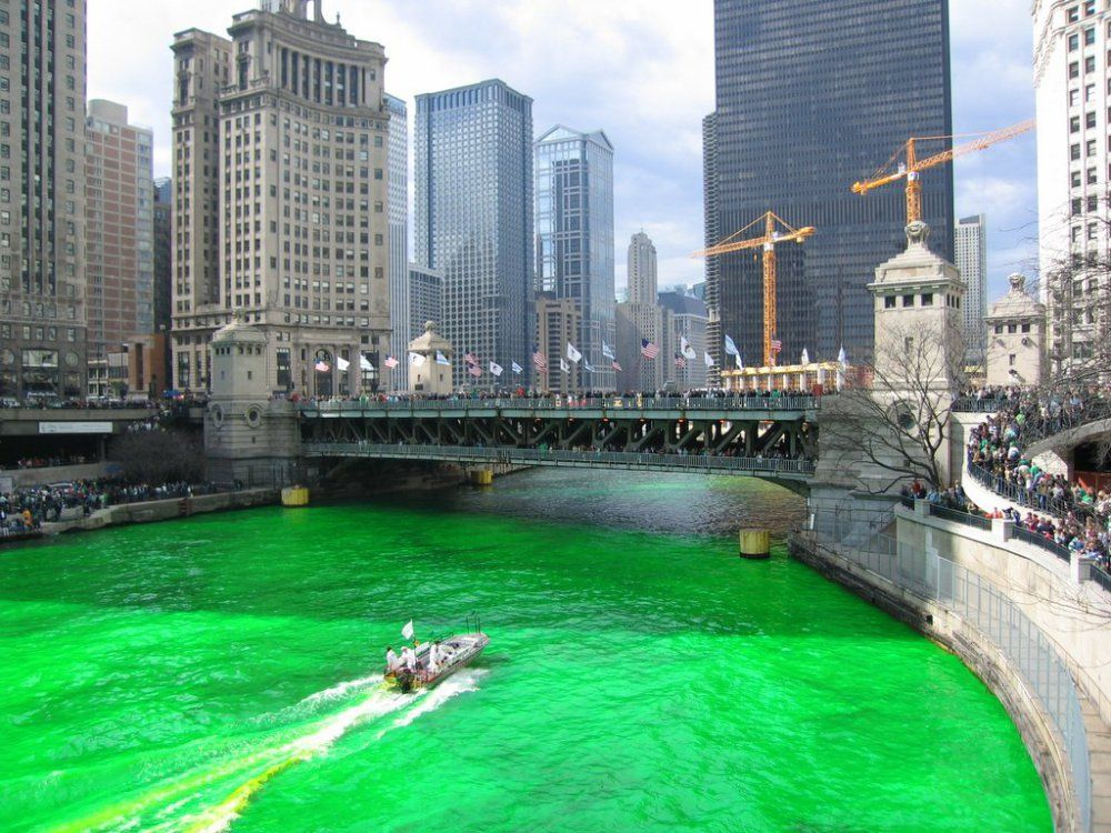 St Patrick S Day Chicago River Into Lake On March 17th