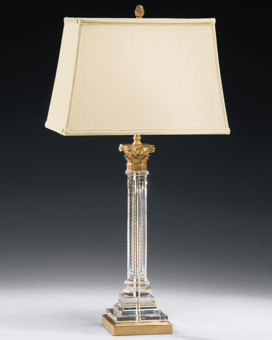 Crystal Column Table Lamp With Cast Brass Details; Beautiful Home Lighting