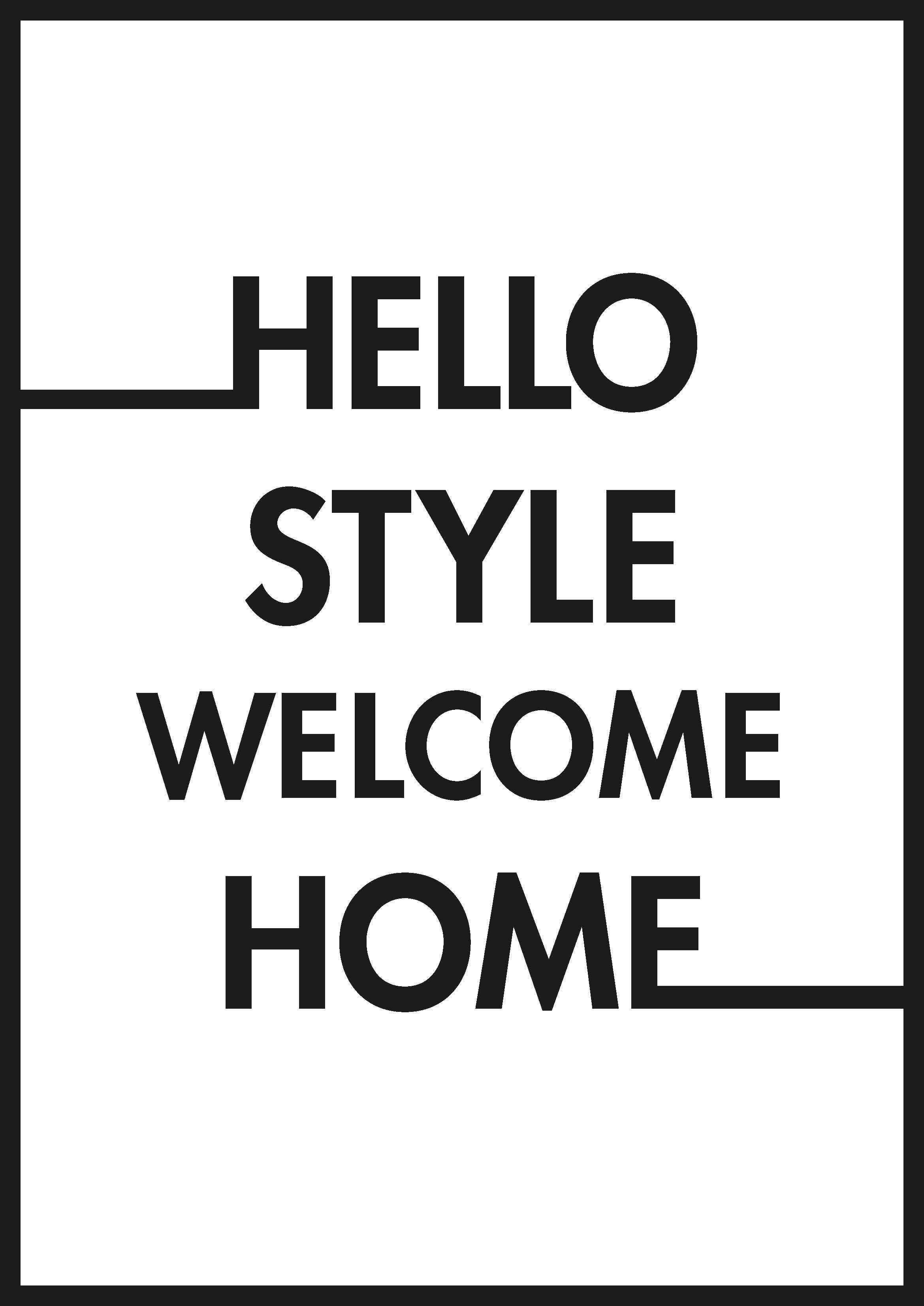 free printable typo poster hello style herunterladen ausdrucken female women 39 s. Black Bedroom Furniture Sets. Home Design Ideas