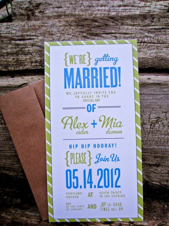 Cute! Wedding Invitation Green And Blue Modern Striped by WideEyesDesign, $2.00