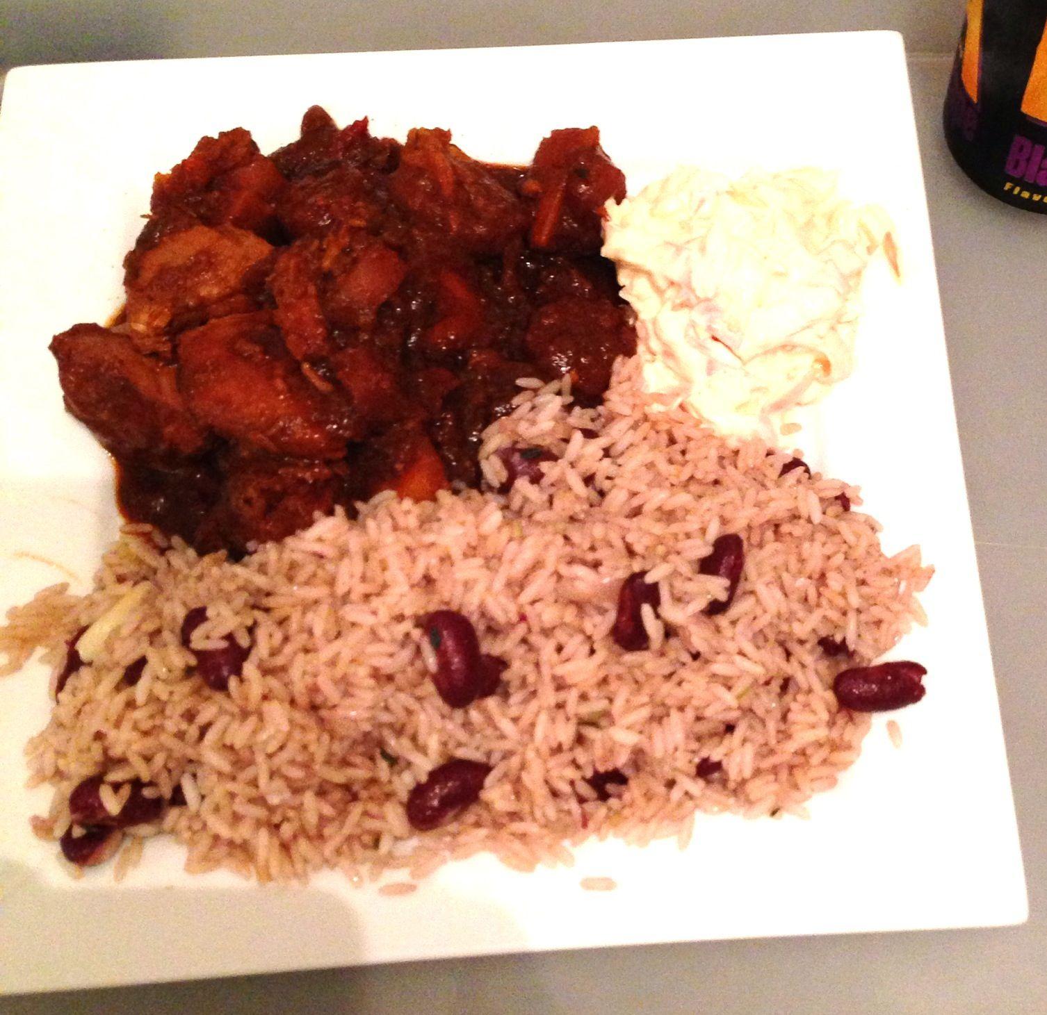 jamaican brown stew chicken rice  peas  brown stew