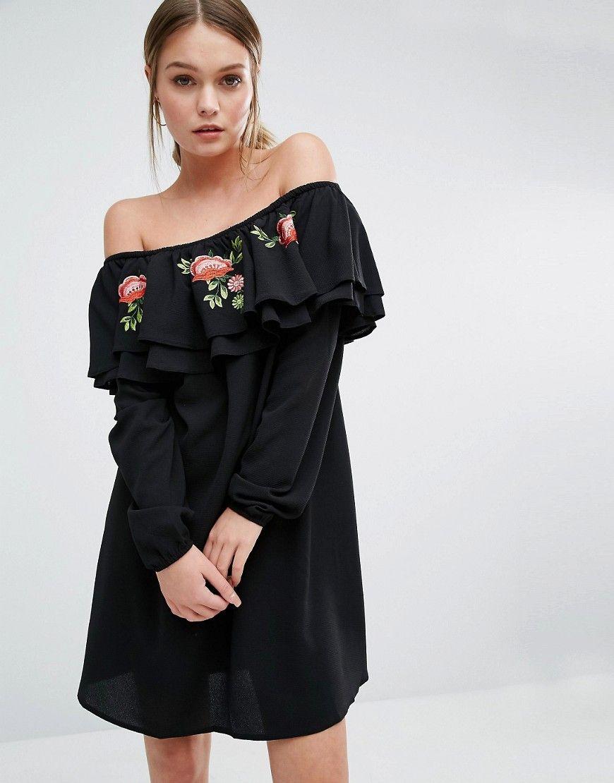 Bardot embroidered smock dress black new look pinterest bardot