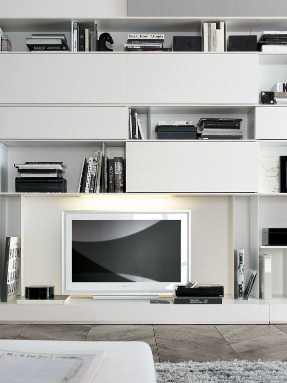 Modular wooden tv wall system skip by poliform design studio kairos