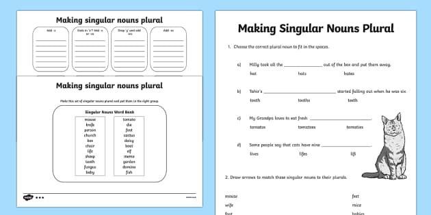 Making Singular Nouns Plural Worksheet Differentiated Singular Nouns Plurals Worksheets Plurals Singular and plural nouns worksheets