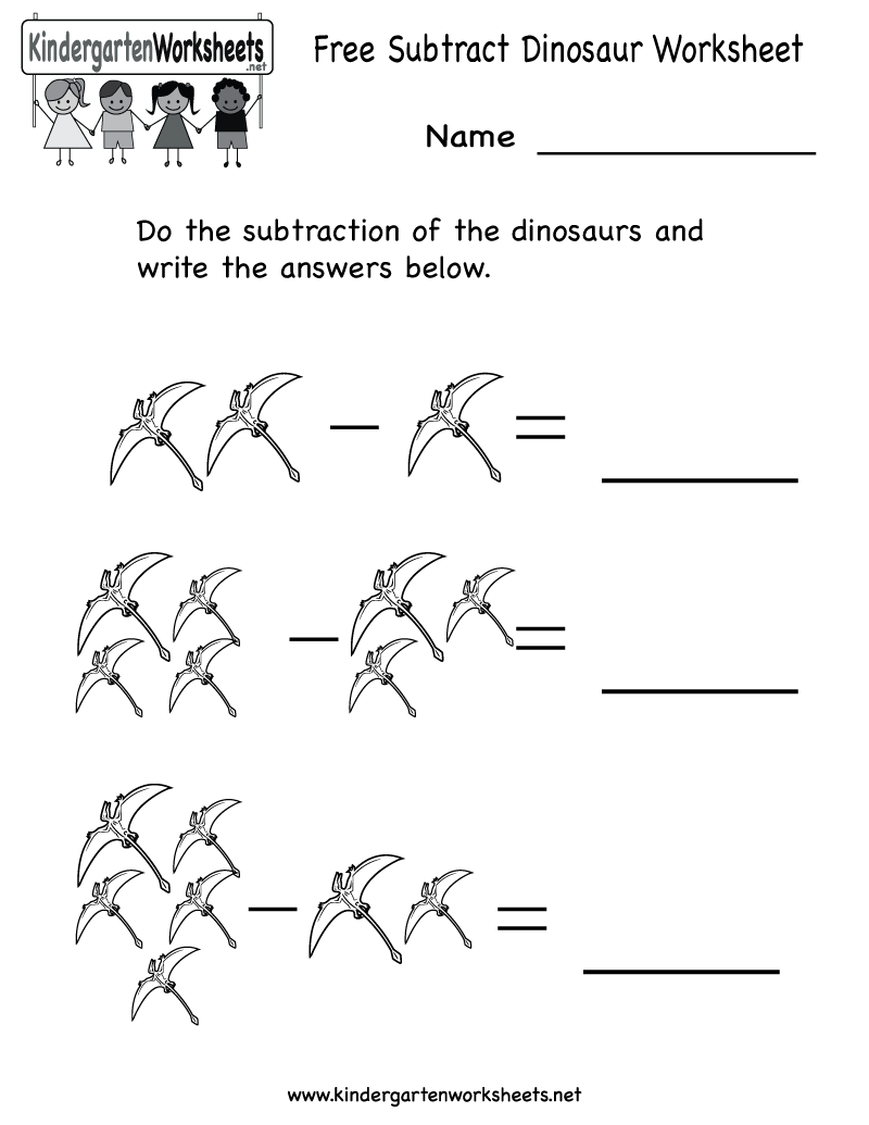 Kindergarten Subtract Dinosaur Worksheet Printable