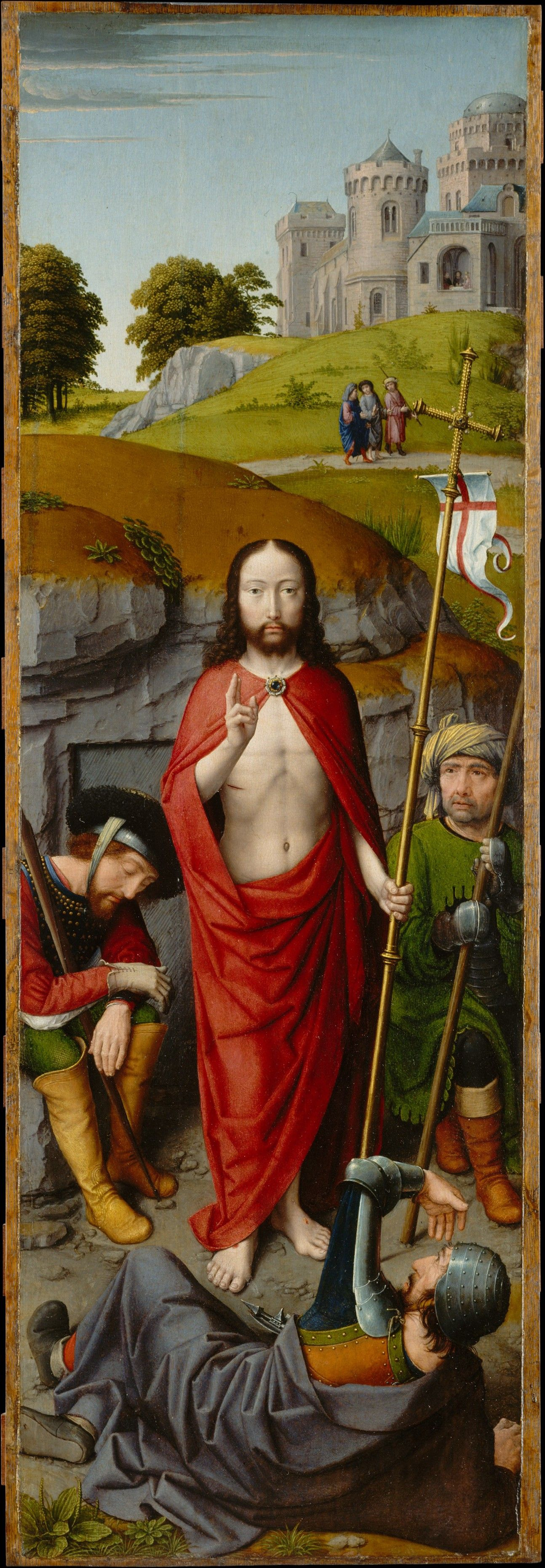 christ carrying the cross with the crucifixion the resurrection