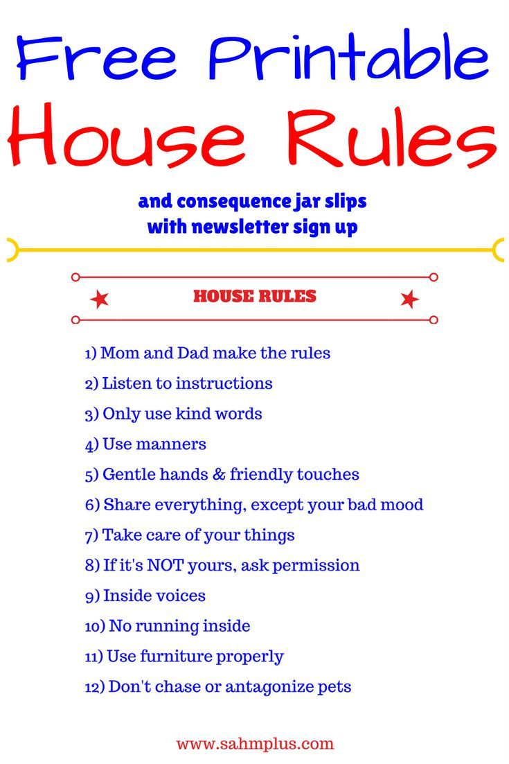 picture regarding House Rules for Kids Printable identified as Result jar excellent behavior for prosperous willpower