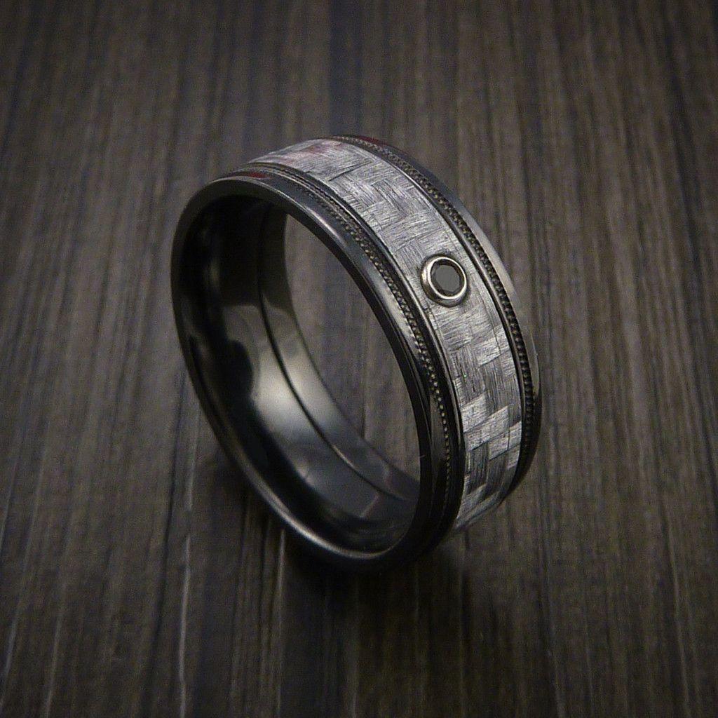 Black Zirconium Ring with a Black Diamond and Carbon Fiber