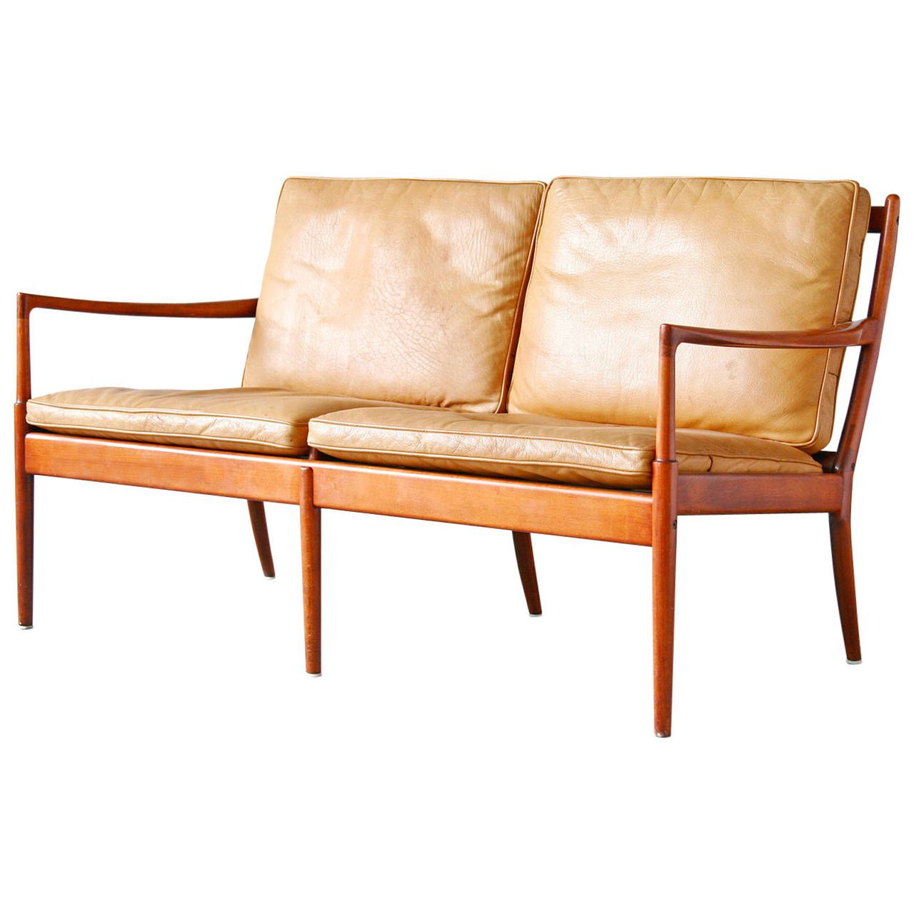 Ib Kofod Larsen Samsö OPE Beech And Leather Loveseat Or Sofa | From A Unique