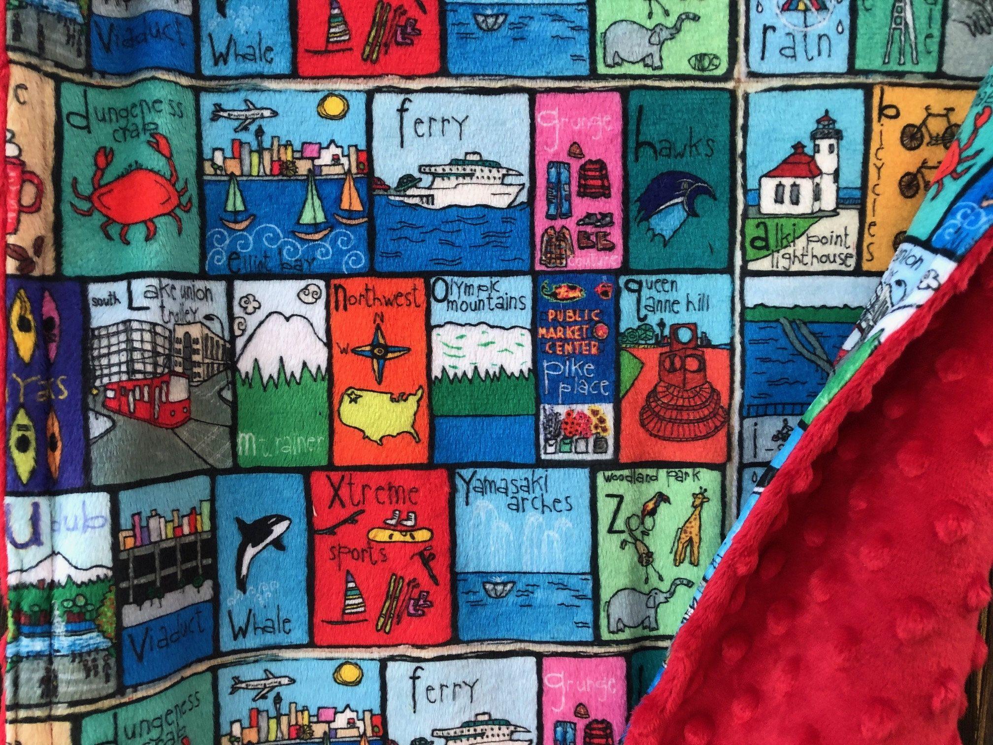 SEATTLE minky blanket - alphabet, ABCs - small WA toddler security blanket - baby crib or stroller blanket - kid/teen/adult throw blanket