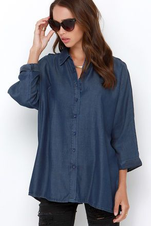 Chambray Top - Button-Up Top - Long Sleeve Top - $59.00