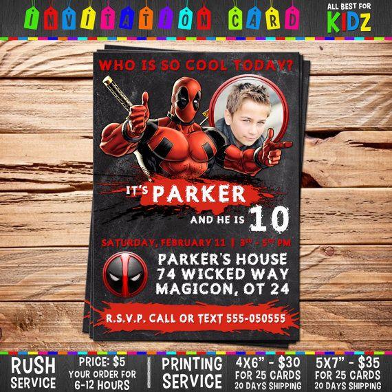 Deadpool Invitation card Birthday Party Ideas от AllBestForKidz - best of invitation card birthday party