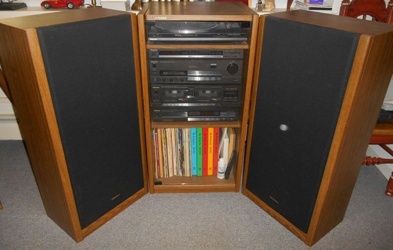 Technics complete stereo system in wood cabinet w/ glass ...