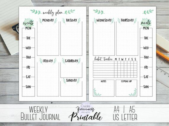 Printable weekly bullet journal - bullet journal pages, weekly planner, planner insert, dot grid journal, dotted planner, pre made journal