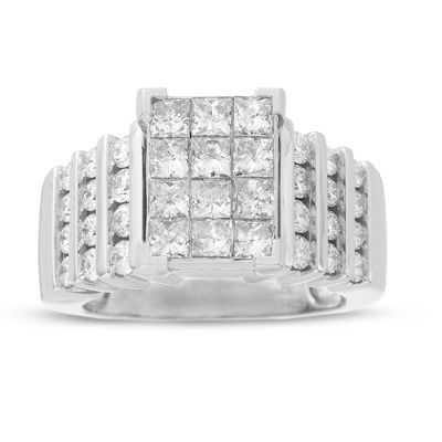 Diamond Rectangular Quad Engagement Ring In White Gold