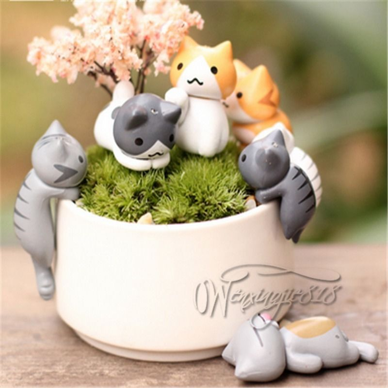 Neko Atsume Mini Cat Backyard Flower Pot Micro Landscape 6pcs Playset Figurine