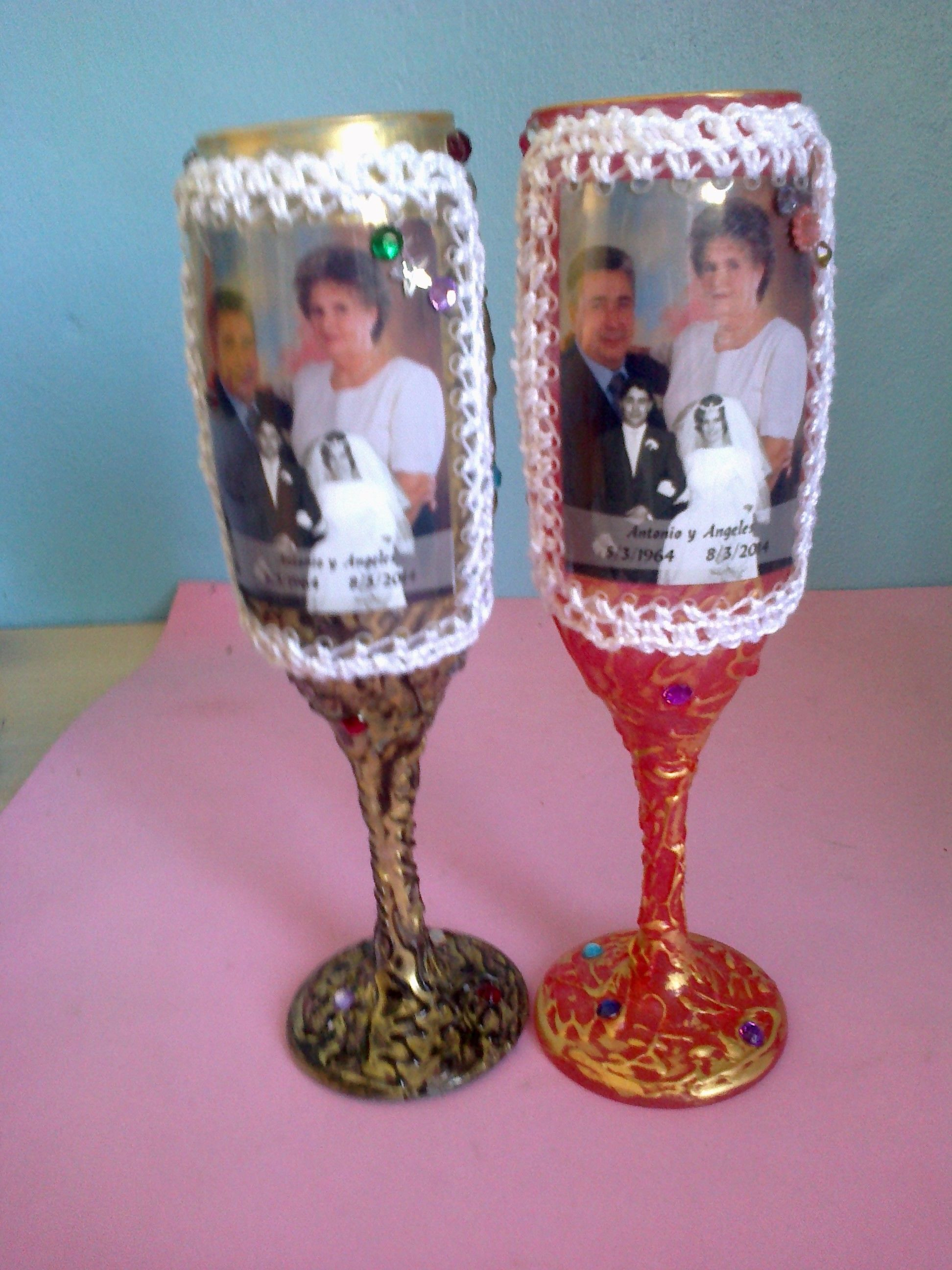 Copas decoradas para detalles de boda copas pinterest - Detalles decoracion boda ...