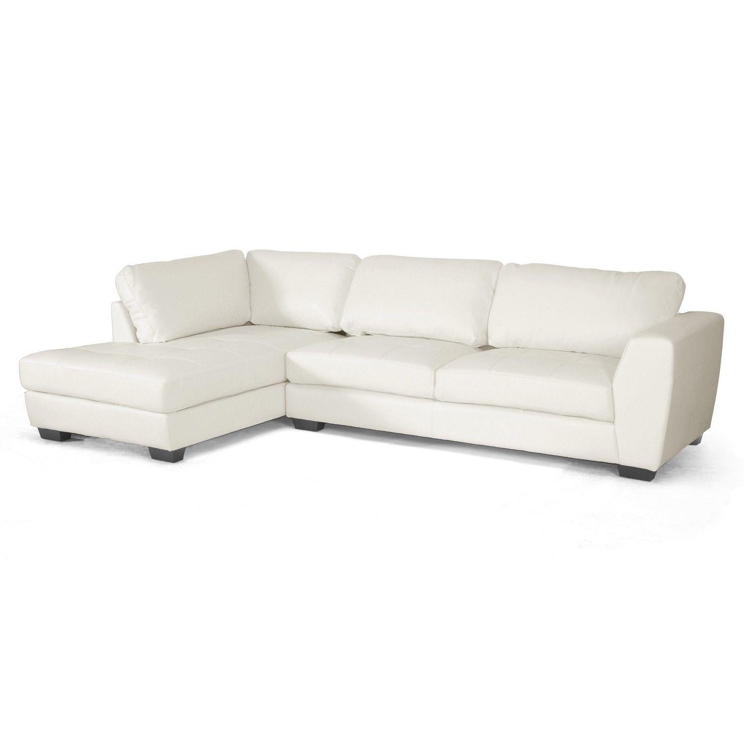 Baxton Studio Orland White Leather Modern Sectional Sofa Set With Left  Facingu2026