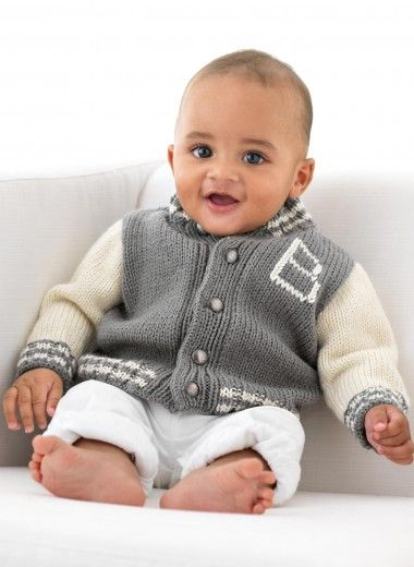 "Mag. 160 - n° 14 Blouson ""B"" de Bergère de France - free | Knit baby sweaters, Knitting patterns ..."