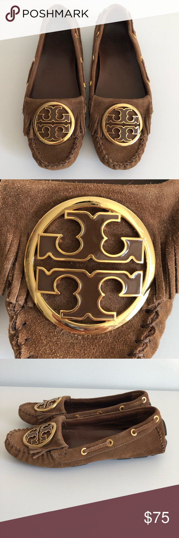 04eee599985 Tory Burch Alexandra Logo Moccasins Size Six Suede moccasin flats feature  enamel-inlaid logo medallion, fringe, and whipstitched seam at the vamp.