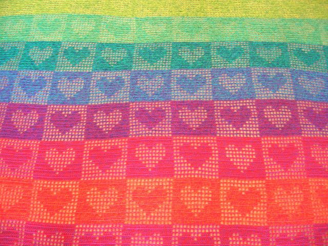 Rainbow Hearts Crochet Afghan/Curtain   Flickr - Photo Sharing!