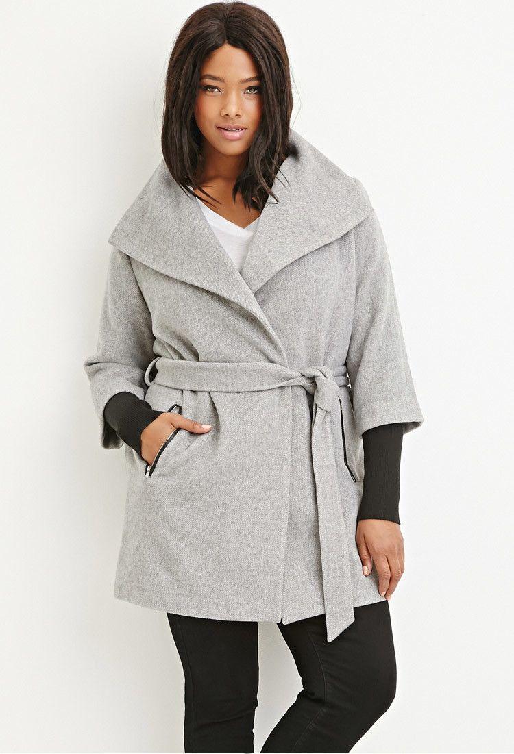 Layered Wrap Coat Wrap Coat Plus Size Coat [ 1101 x 750 Pixel ]
